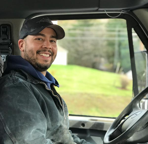 Happy local truck driver with a trucking career