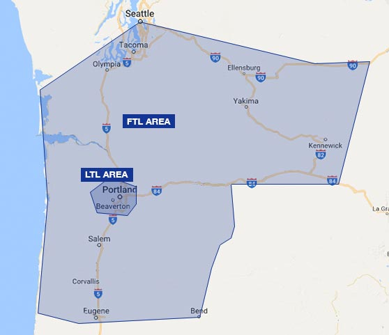 Map of Bridgetown Trucking Portland's service area in Oregon and Washington for FTL and LTL trucking