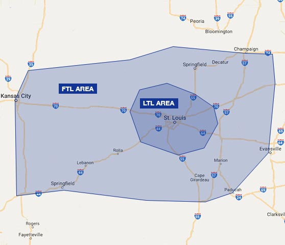 Map of Bridgetown Trucking's service area in St. Louis, Missouri for FTL and LTL trucking