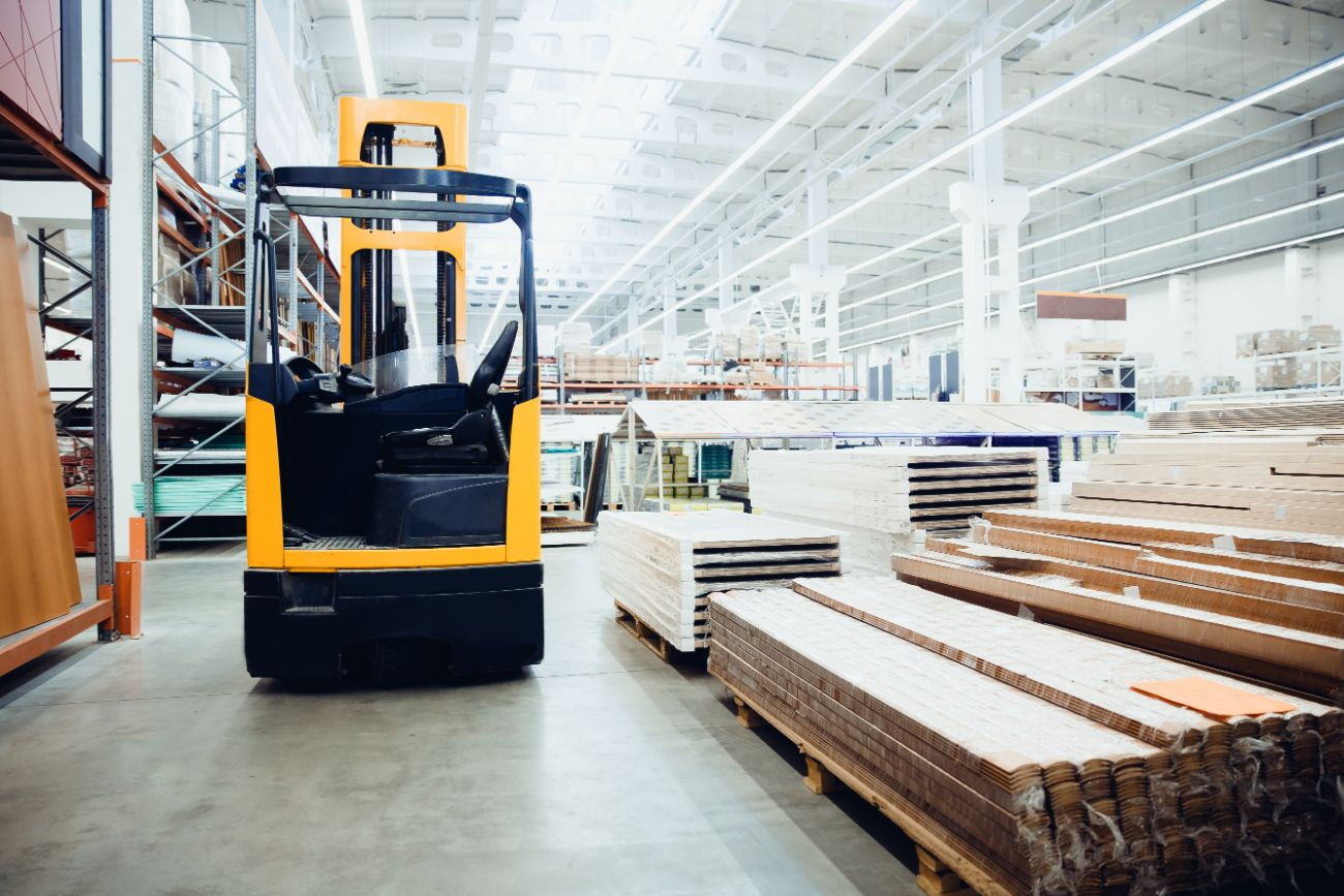Forklift in raw material warehouse