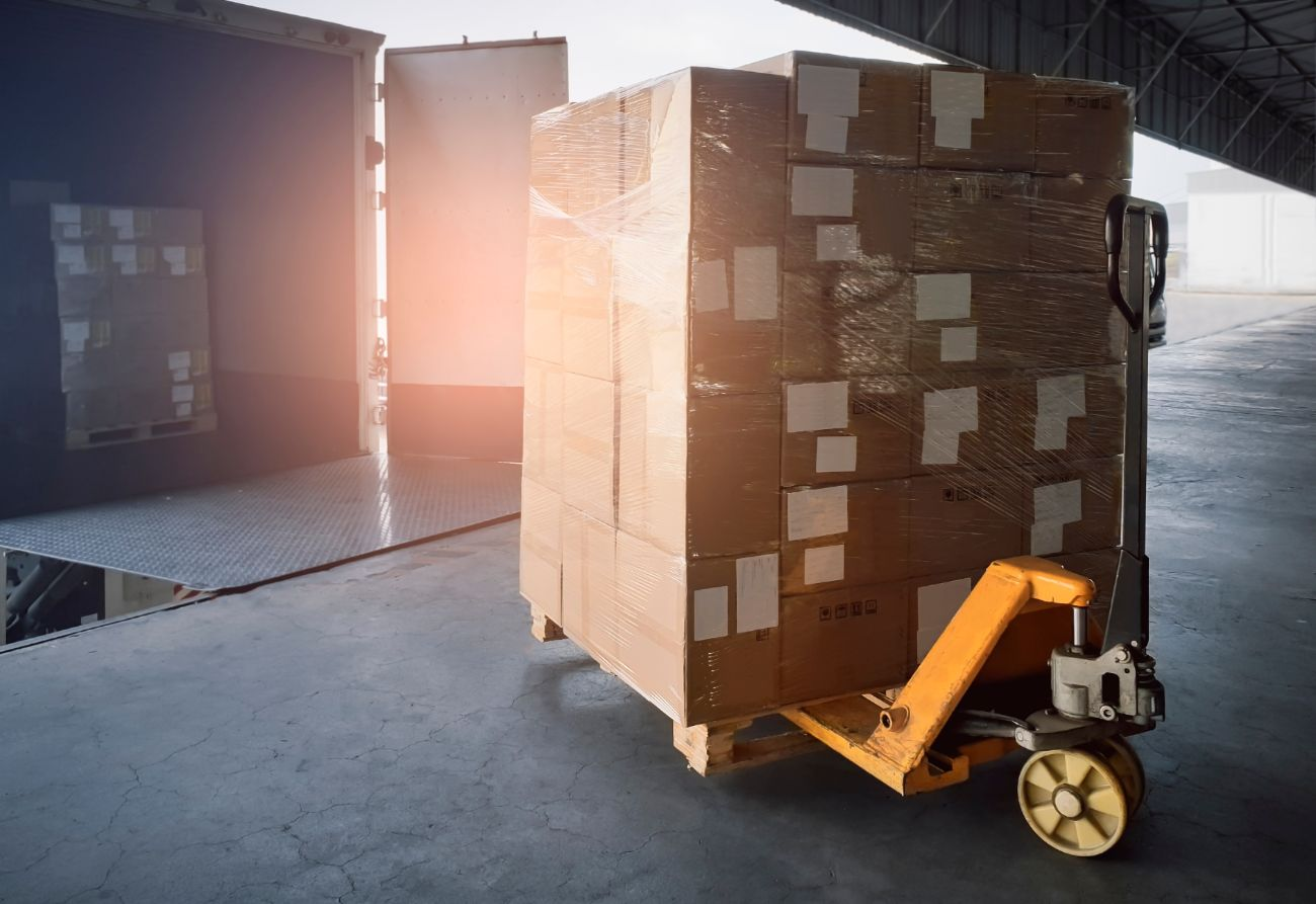 Ecommerce pallets on loading dock at fulfillment warehouse