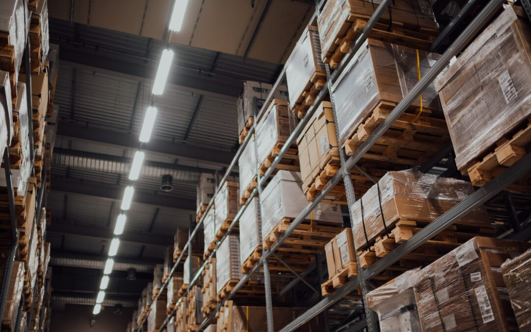 Stacks of boxes and pallets in a warehouse